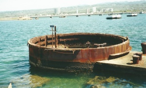 Oil still leaks from the wreckage of the USS Arizona